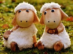 Sheep, two funny Ceramic figurines