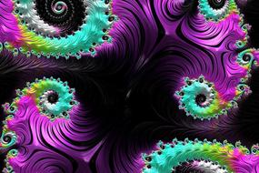fractals spirals black and colorful as background