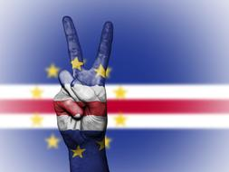 victory hand gesture at flag of Cape Verde