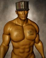 man cap muscles 3d model