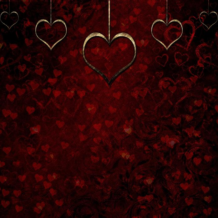 red hearts, maroon background