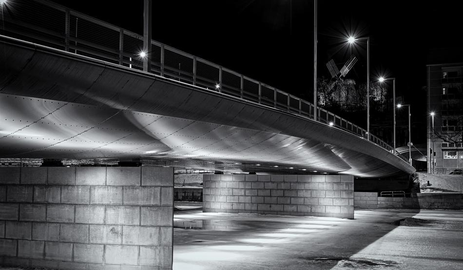 monochrome photo of a modern overpass in the city