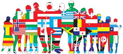 art borders flags person drawing