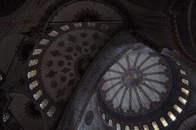 mosaic on the ceiling at the Blue Mosque in Istanbul, Turkey