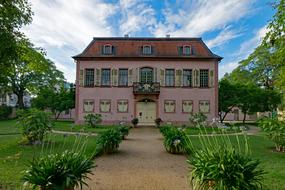 building of Porcelain Museum in garden at summer, germany, Darmstadt, Hesse