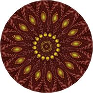 brown and yellow mandala, geometric pattern
