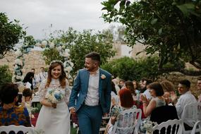 photo of a happy wedding outdoors