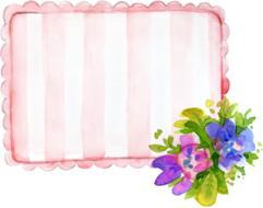 frame with pink stripes and flowers at corner