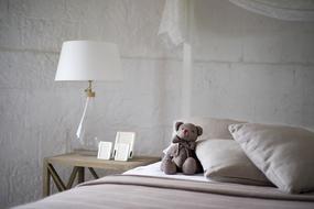 teddy bear on the bed in the bedroom