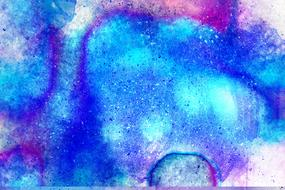 abstract watercolor painting, blue and pink background