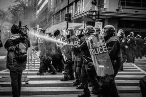 People Police Protest black and white