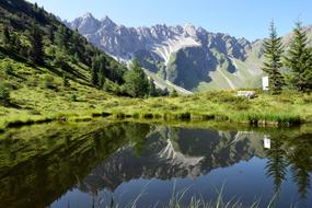 photo of a mirror mountain lake in South Tyrol
