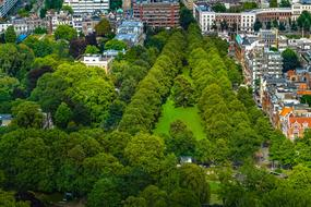 photo of a green park in Rotterdam from a bird's eye view