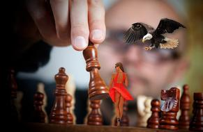 Chess Woman and bird