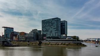 panoramic photo of the port in Dusseldorf