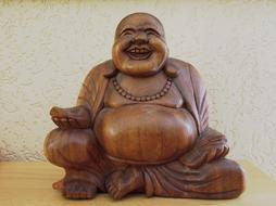 happy Buddha, wooden figurine, Serenity