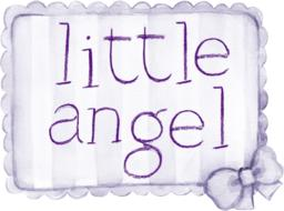 little angel, lavender color baby tag