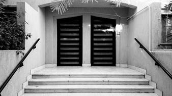 Building Gate black and white