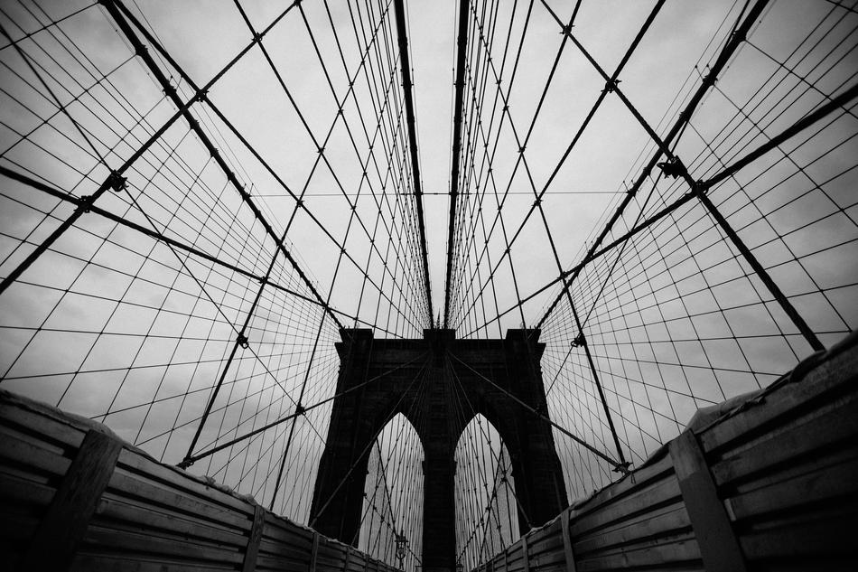 monochrome photo of suspension bridge ropes
