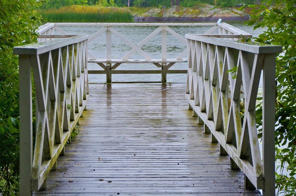 photo of a wooden pedestrian bridge