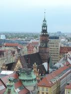 panoramic view of the historical architecture of wroclaw