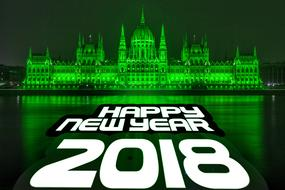Budapest happy new year 2018 banner