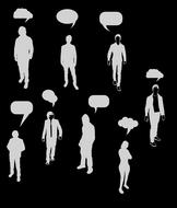 thought people silhouette drawing