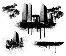 silhouette city buildings