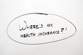 Health Insurance text drawing