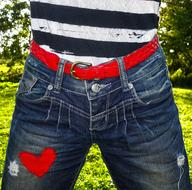 fashion jeans Woman red heart