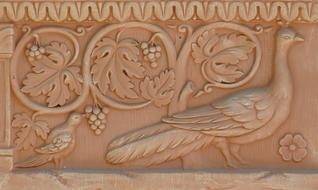 Terracotta Image Bird and Grapes