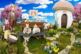 decoration of the rabbit village for Easter