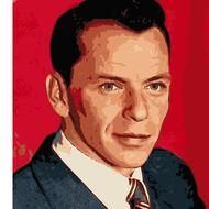 portrait of Frank Sinatra on a red background