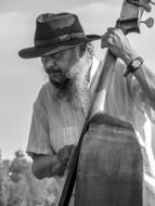 Jazz Double Bass man black and white